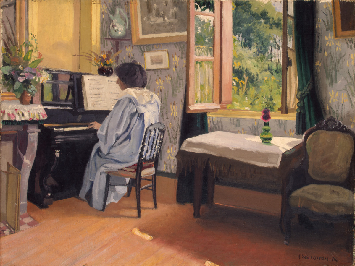 Félix Vallotton: ''Vrouw achter een piano''. 1904, olieverf op doek, 43,5 x 57 cm. State Hermitage Museum, St Petersburg.