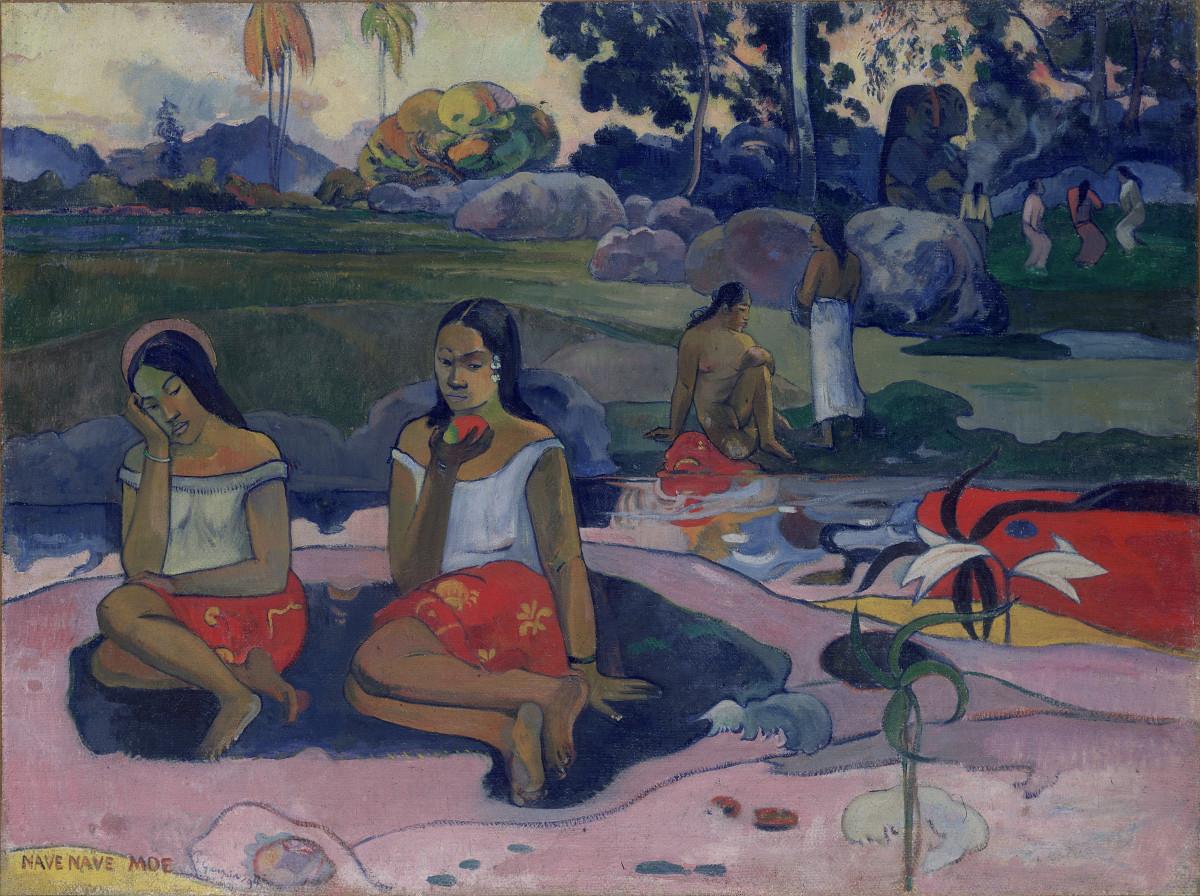 Paul Gauguin: ''Heilige lente: Zoete dromen (Nave Nave Moe)''. 1894. Olieverf op doek, 74 x 100 cm State Hermitage Museum, St Petersburg