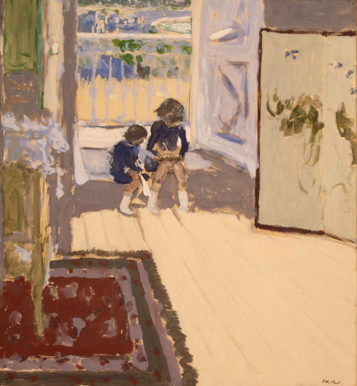 Édouard Vuillard: ''Kinderen''. 1909. Tempera op papier, geplakt op doek, 84,5 x 77,7 cm. State Hermitage Museum, St Petersburg