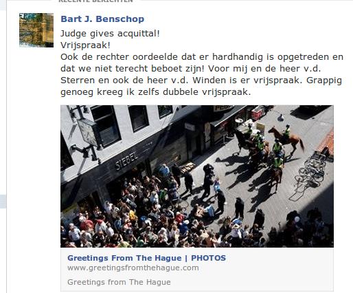De facebook update met de melding van de vrijspraak