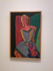 'Zittend meisje' van Karel Appel. 1948. Olieverf op karton, 85x55 cm. Collectie Stedelijk Museum, Amsterdam