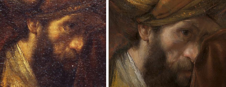 'Saul en David' (fragment) voor en na restauratie (foto Mauritshuis)