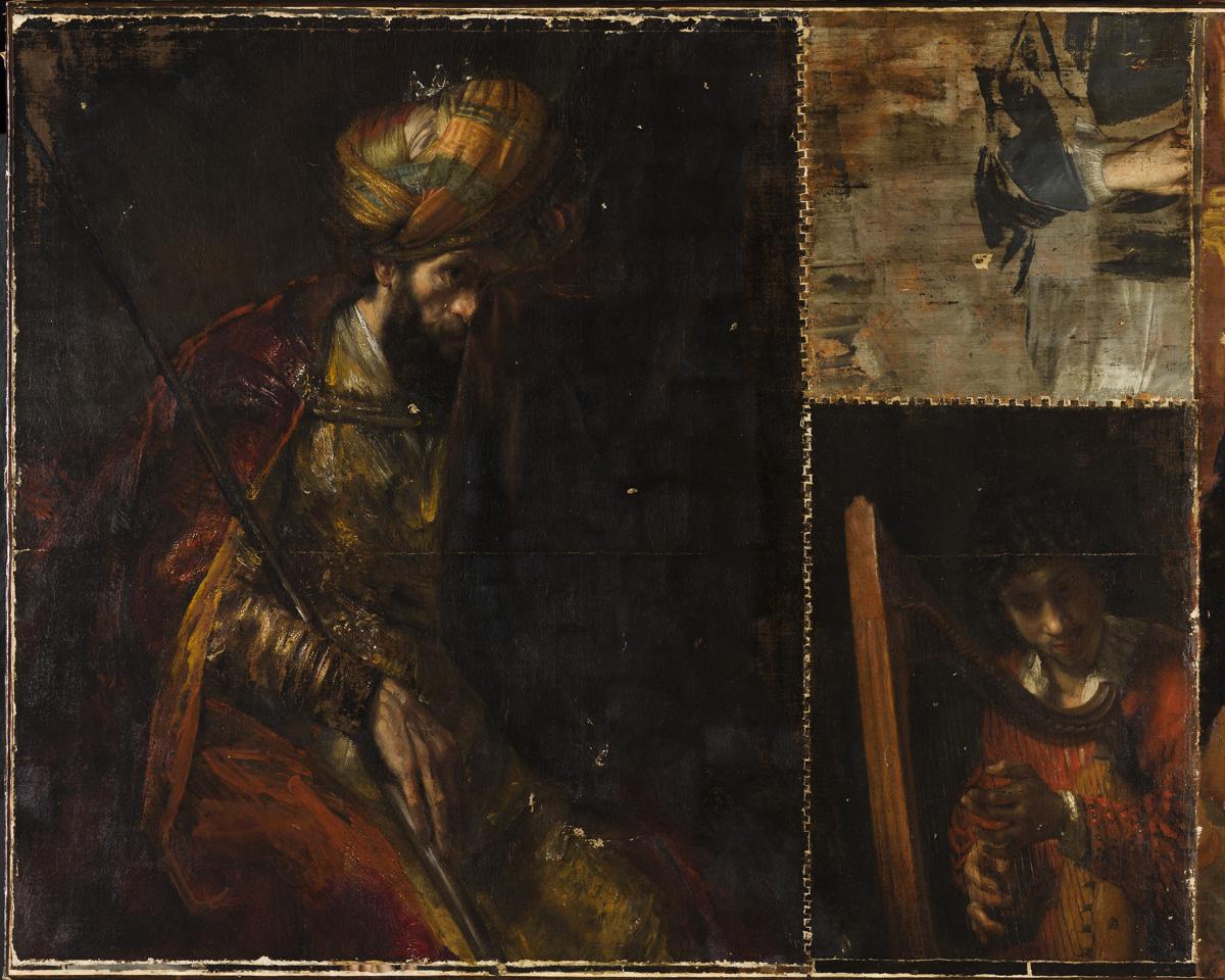 Saul en David tijdens de restauratie, na het verwijderen van overschilderingen (foto Mauritshuis)