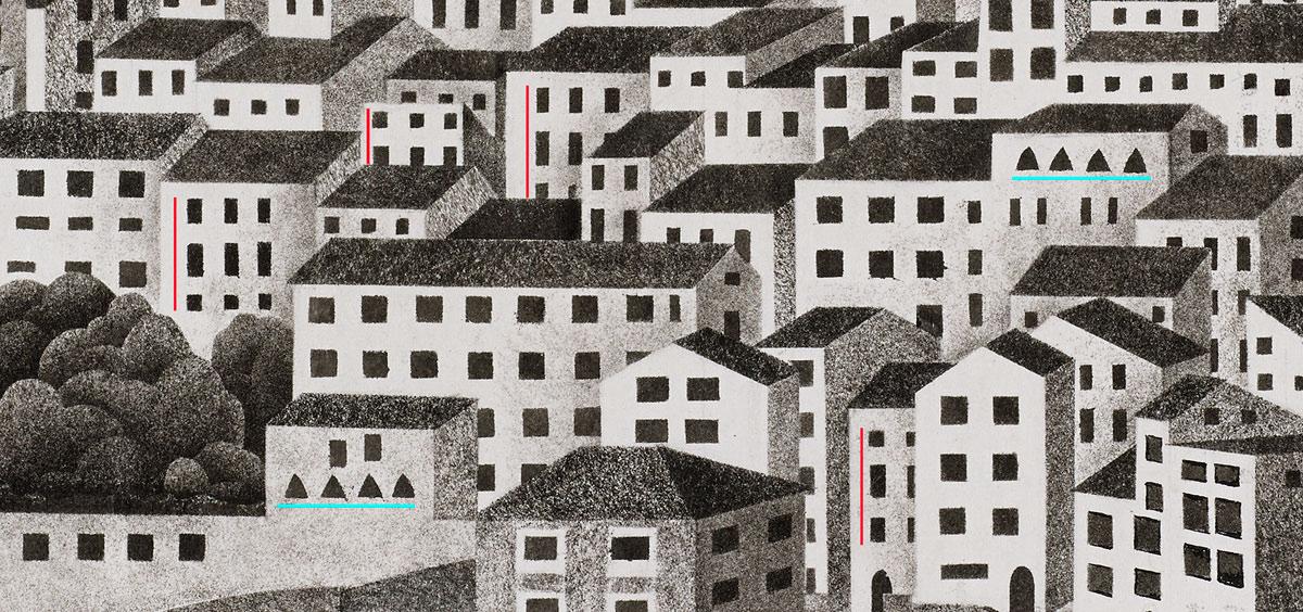 Montecelio, M.C. Escher, 1924, detail ramen onderlinge overeenkomsten, © The M.C. Escher Company BV, Baarn