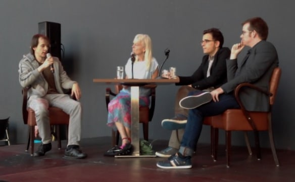Alexander Khubeev; Thea Derks; Utku Asuroglu; Jason Thorpe Buchanan tijdens artists' talk Gaudeamus Muziekweek 11-9-2015