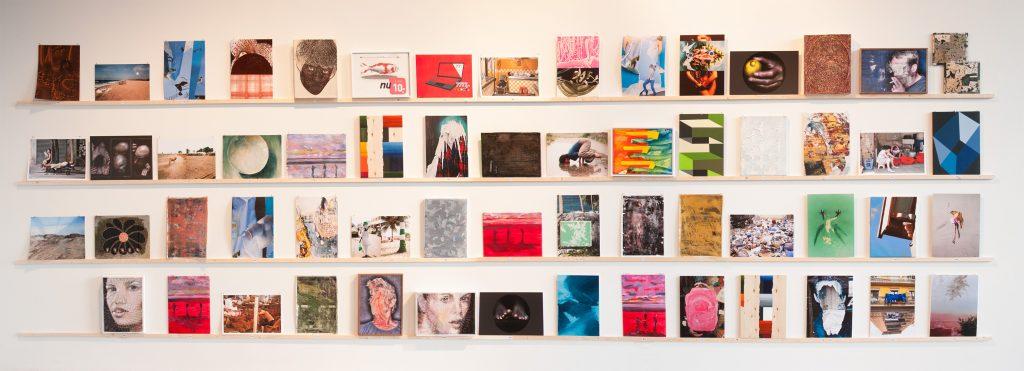 Werken op A3-formaat, op de expositie 'Multi Solo: Size Matters', in Tetem, Enschede.
