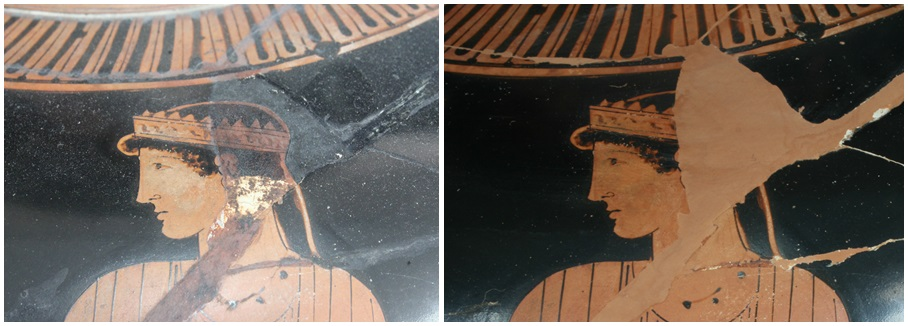 Links de oude 19-de eeuwse restauratie. De krans om het hoofd heeft de verkeerde vorm en lijkt zo meer op een kroon. Rechts de nieuwe, nog niet geretoucheerde aanvulling (foto (C) RMO Leiden)