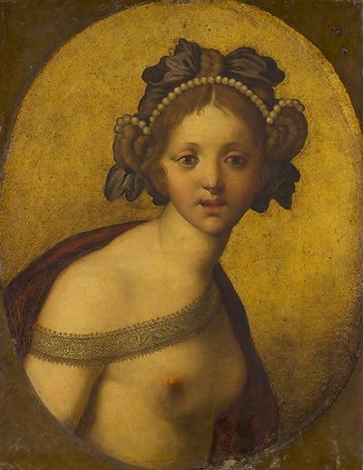 Anoniem (Italië), Vrouwelijke figuur (Een godin?), c.1500-1550? Mauritshuis, Den Haag