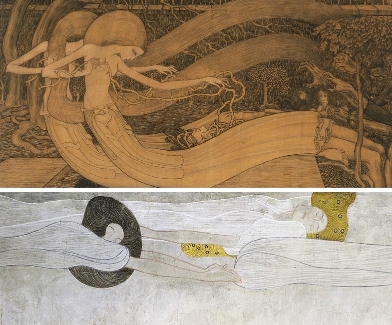 Fragmenten van Toorops 'O Grave, where is thy victory' (1892) en Klimts Beethovenfries (1901/1902, bron suitesculturelles.wordpress.com)