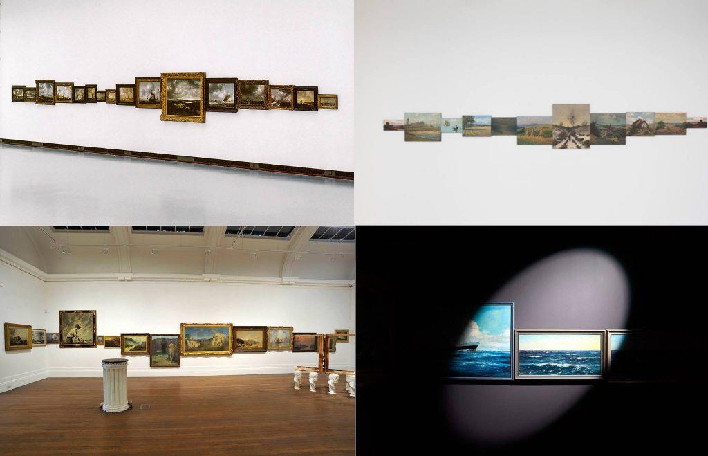 Met de klok mee: Ger van Elk (Hollands Landschap (1999), Feldmann (2014), Leo Fritzmaurice (2011) en Daan Roosegaarde (2016).