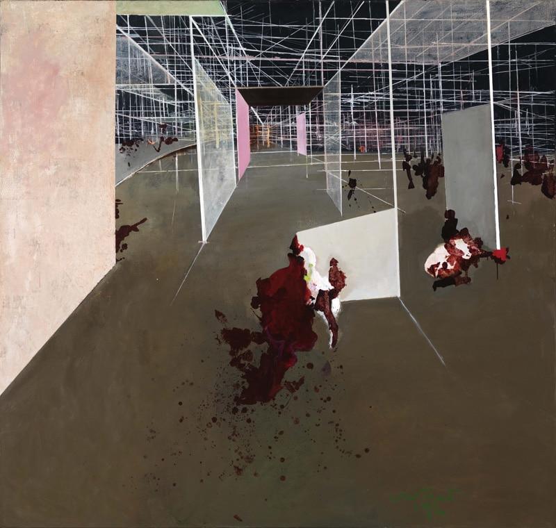 Entrée du labyrinth (Ingang van het labyrint), 1972, olieverf op doek, 165,1 x 175,2 cm. Gemeentemuseum Den Haag. Foto: Tom Haartsen. ©Constant / Fondation Constant c/o Pictoright Amsterdam 2016