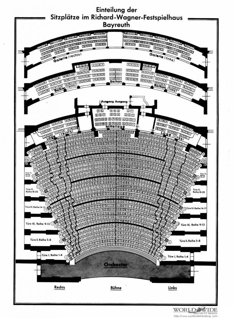 Stoelenplan van het theater dat Wagner ontwierp voor Bayreuth