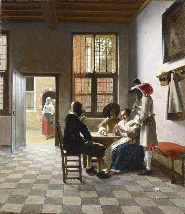 Pieter de Hooch (1629-1684), Kaartspelers in een zonnige kamer, 1658