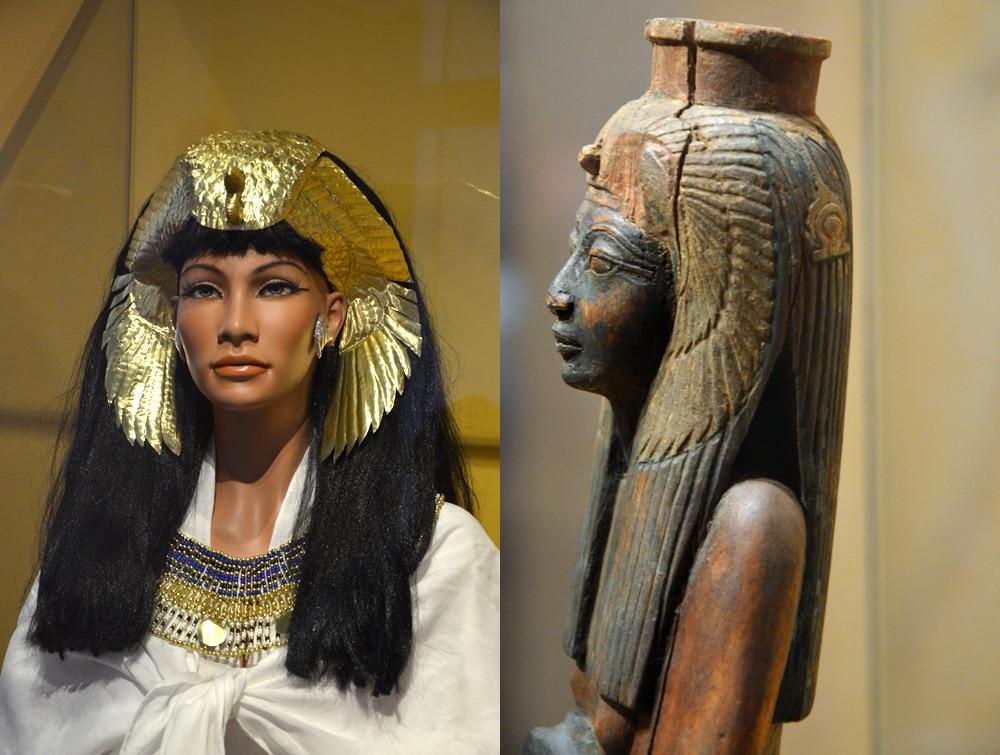 Links: hoofdtooi (reconstructie); rechts: Ahmose Nefertari