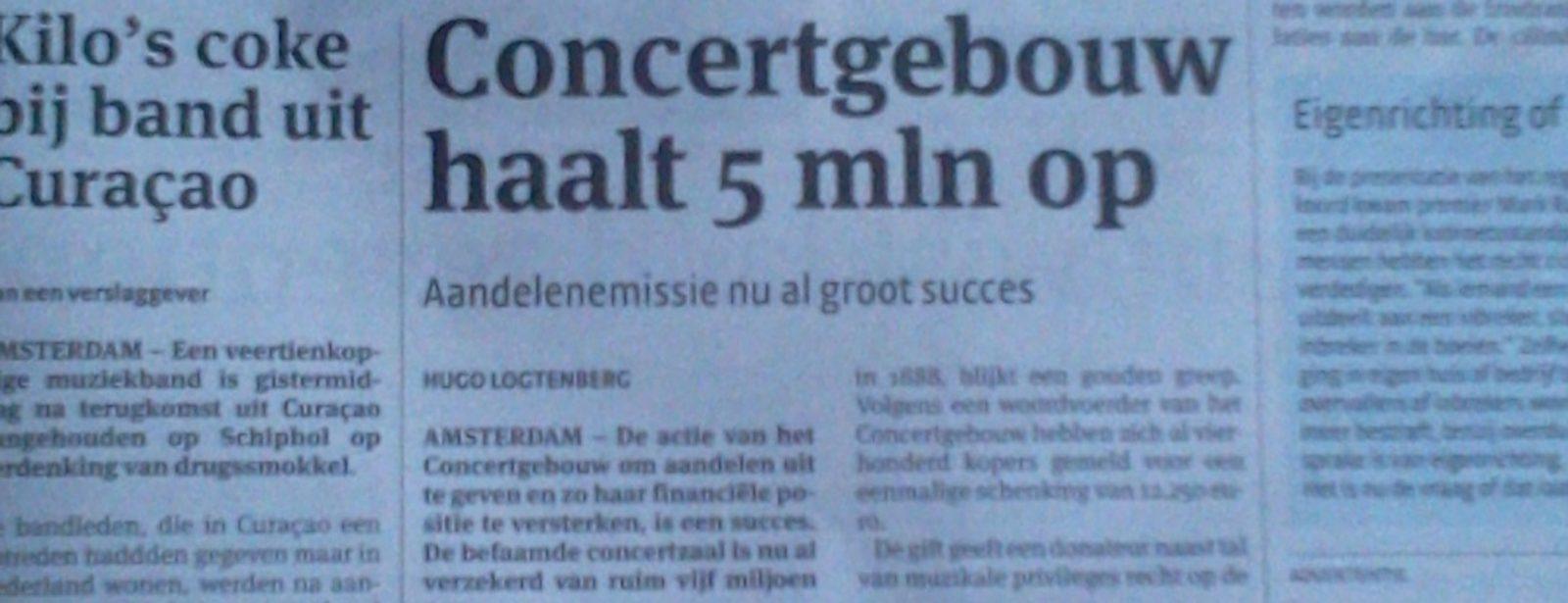 Concertgebouw Amsterdam geeft aandelen uit