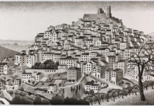 Montecelio, M.C. Escher, maart 1924, Oost-Indische inkt op papier, © The M.C. Escher Company BV, Baarn