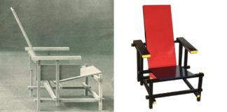 Gerrit Rietvelds Rood-blauwe stoel in oorspronkelijke en latere toestand (bron: commons.wikimedia.org)