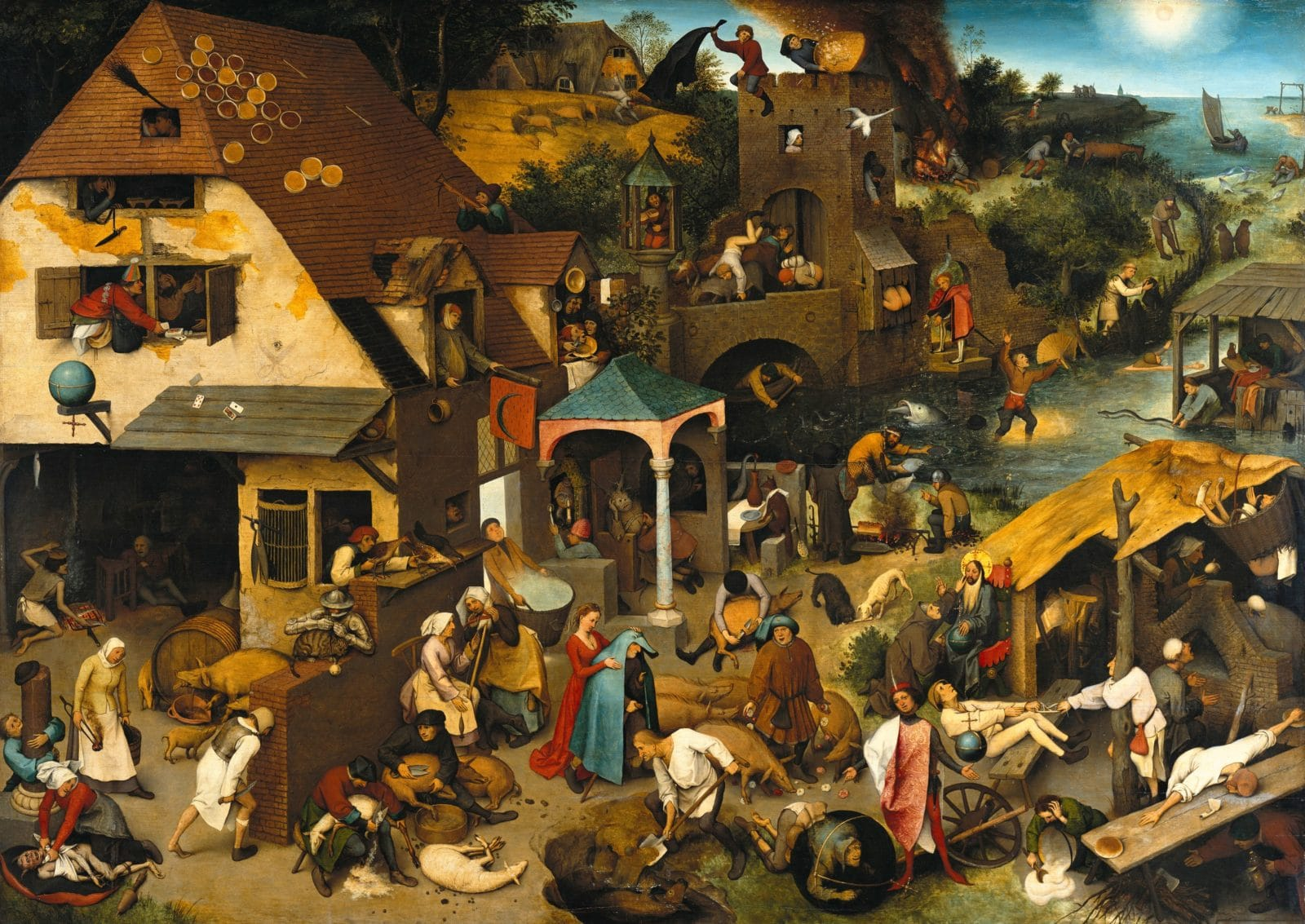 Pieter Bruegel de Oude, Nederlandse spreekwoorden, olieverf op paneel, 1559, Staatliche Museen zu Berlin